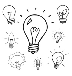 set of hand drawn light bulbs group of vector image