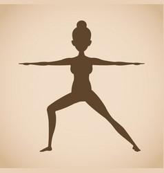 Silhouette woman pose yoga vector