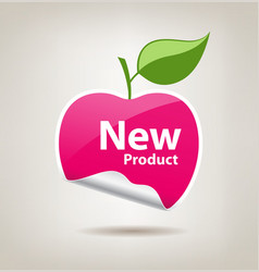 Sticker pink apple price tag vector image vector image