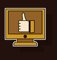 Sticker thumbs up like social network facebook vector