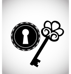 Vintage keys and keyhole vector