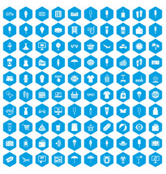 100 summer shopping icons set blue vector