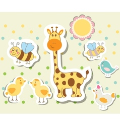 Vintage doodle set little zoo for greeting card vector
