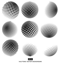 Black and white halftone circle set of isolated vector