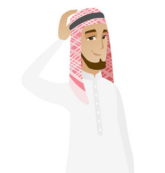 Young muslim businessman scratching his head vector