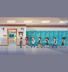 Group of pupils walking in school corridor to vector