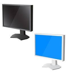 Lcd tv monitor on white background vector