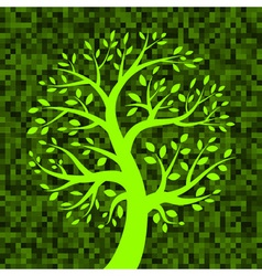Green tree icon on green pixel background vector