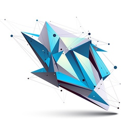 Blue abstract 3d structure polygonal object cosmic vector