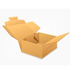 Open parcel boxes empty brown box vector