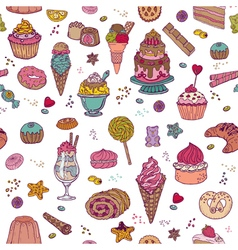 Desserts background with cakes sweets vector