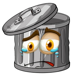 Trashcan with crying face vector