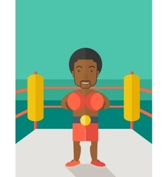 Boxer in gloves standing in ring vector