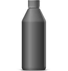 Realistic Black plastic bottle vector image