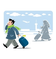 Funny air passengers with airport background vector