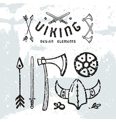 Viking design elements in hand drawn style vector