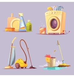 Cleaning service 4 cartoon ions set vector