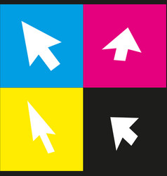 Arrow sign white icon with vector