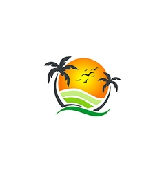 Beach sunset vacation tropic logo vector