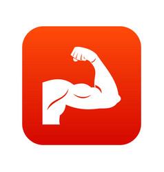biceps icon digital red vector image vector image