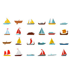 Boat icon set flat style vector