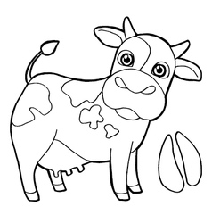 Cattle with paw print Coloring Page vector image vector image