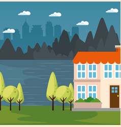 City landscape design vector