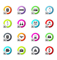 Clothing store icons set vector
