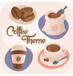 Coffee Theme Icons Set vector image vector image