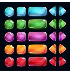 Colorful glossy buttons set on dark background vector