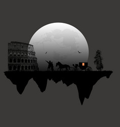 Couple silhouette and carriage in front of vector