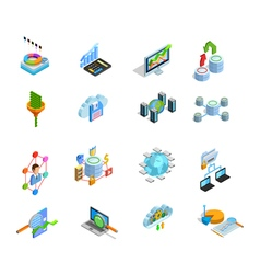 Data analyses elements isometric icons set vector