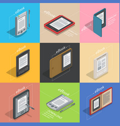 Electronic books icon set isometric flat vector