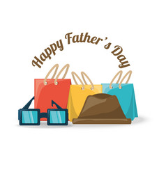 Fathers day decoration with gifts hat and glasses vector