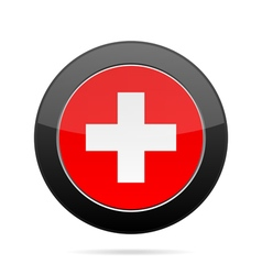 Flag of switzerland shiny black round button vector