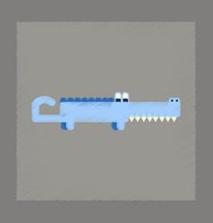 Flat shading style icon cartoon crocodile vector