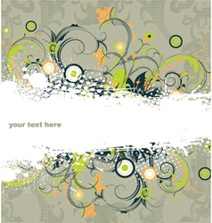 grunge with floral vector image vector image