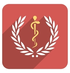 Healh care laurel wreath flat rounded square icon vector