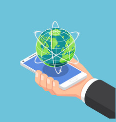 isometric businessman hand holding smartphone vector image