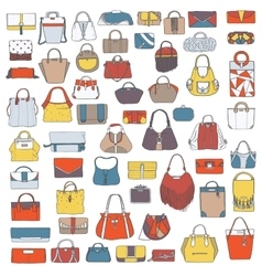 Large set of colorful doodle fashion bags vector