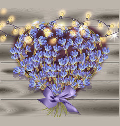 lavender greeting card valentines day flowers vector image