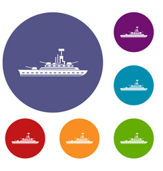 military warship icons set vector image vector image