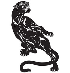 Panther tattoo black white vector