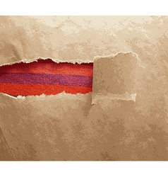 Paper frame texture with torn area vector image vector image