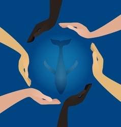 People hands protect ocean whale vector image vector image