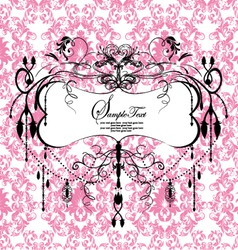 pink floral background with abstract chandelier vector image vector image