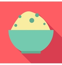 Rice in bowl icon flat style vector
