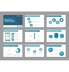 Set of blue template for multipurpose presentation vector image