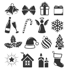 Set of christmas holidays icons pictograms flat vector
