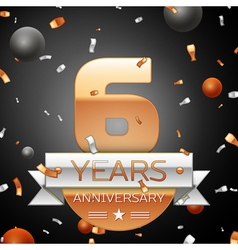 Six years anniversary celebration background with vector